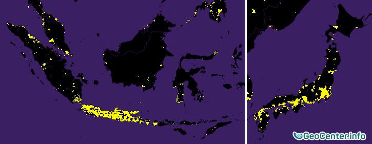 Плотность населения в Японии и Индонезии, остров Ява