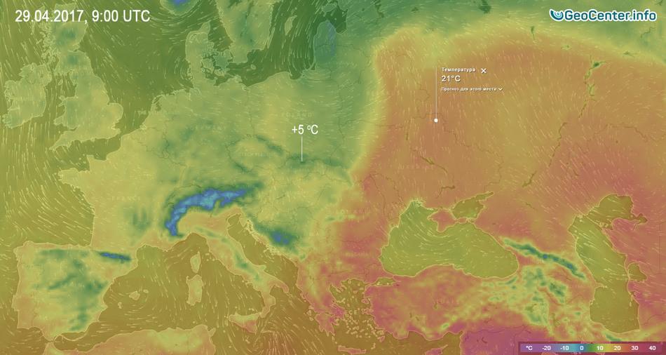 Температурная карта Европы 29 апреля 2017