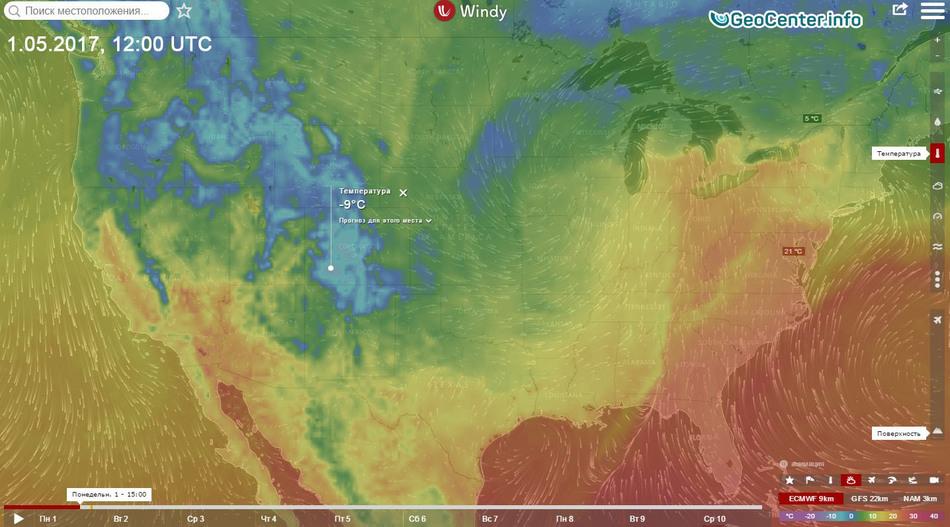 Температурная карта США май 2017
