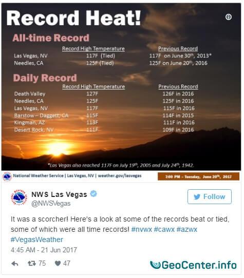 В США  аномальная жара, июнь 2017 года