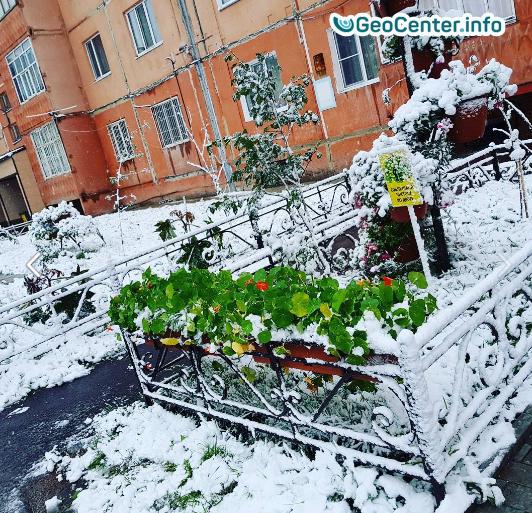 Первый снег в Якутии, август 2017