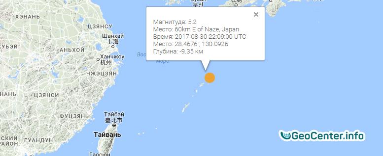 Землетрясение магнитудой 5,2 в Японии, август 2017