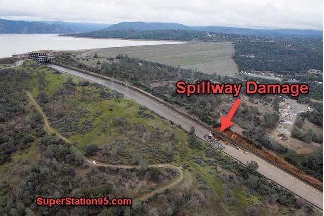 Авария на самой высокой плотине США в Калифорнии