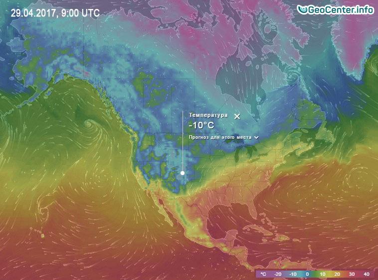 Температурная карта Северной Америки апрель 2017