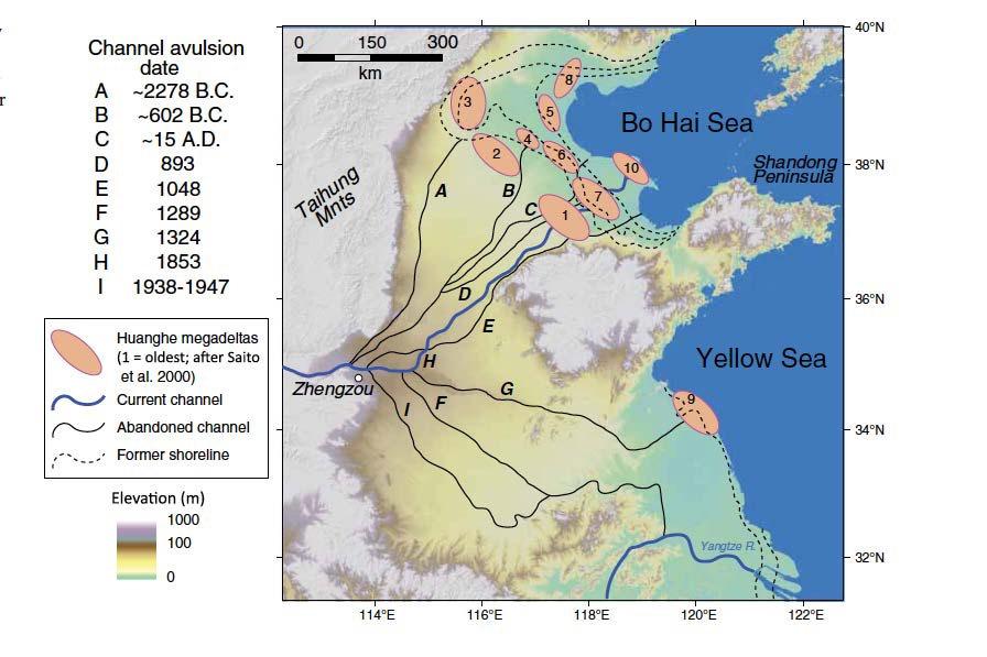 исторические изменения русла реки Хуанхэ и ее дельты