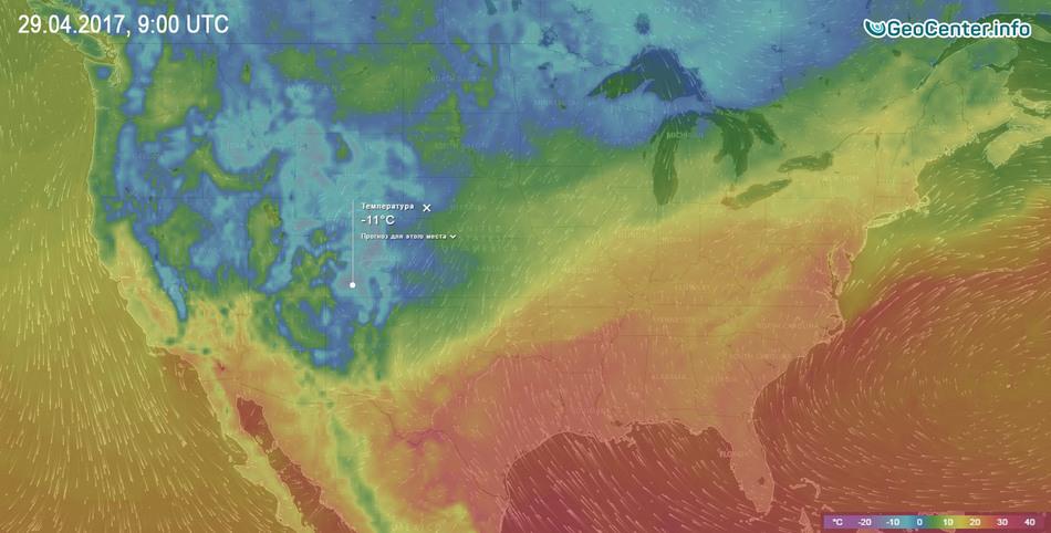 Температурная карта США апрель 2017