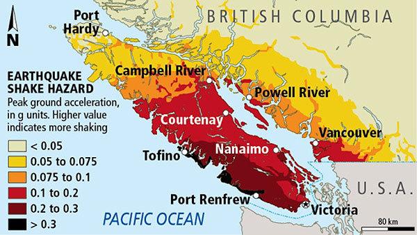 Карта сейсмической опасности на Западном побережье США и Канады