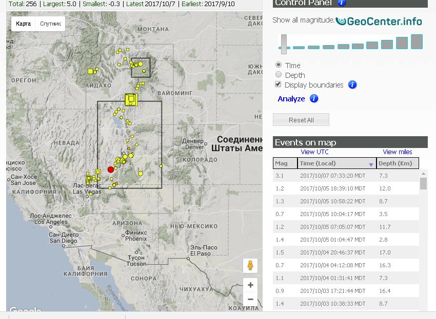 Землетрясения в штате Айдахо  разбудили Йеллоустоун, октябрь 2017 года