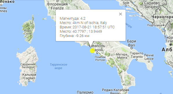 Землетрясение на острове Искья (Италия), август 2017