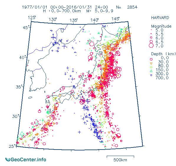 Сейсмическая активность в районе Японских островов магнитудой выше 5.0