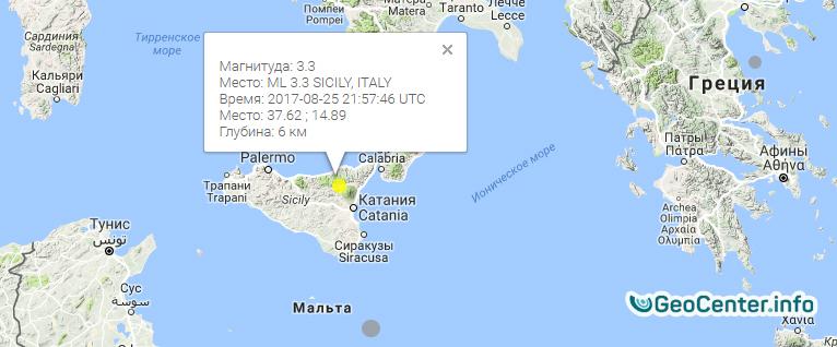 Землетрясение  в Сицилии (Италия), август 2017