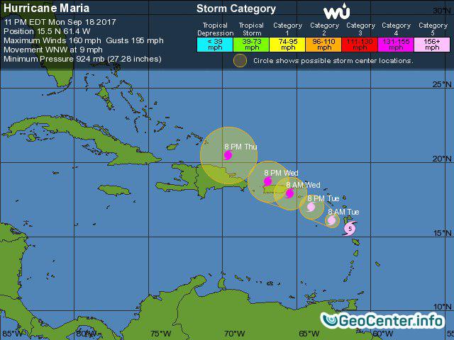 Ураган Мария бушует на острове Доминика, сентябрь 2017 года