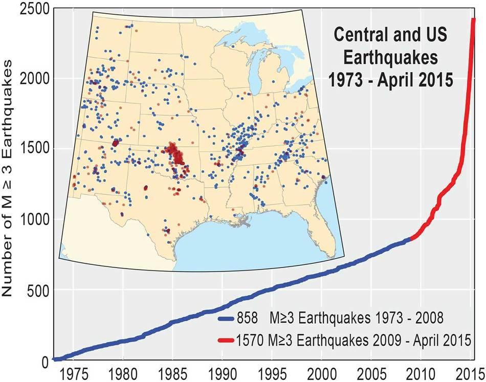 количество землетрясений в США