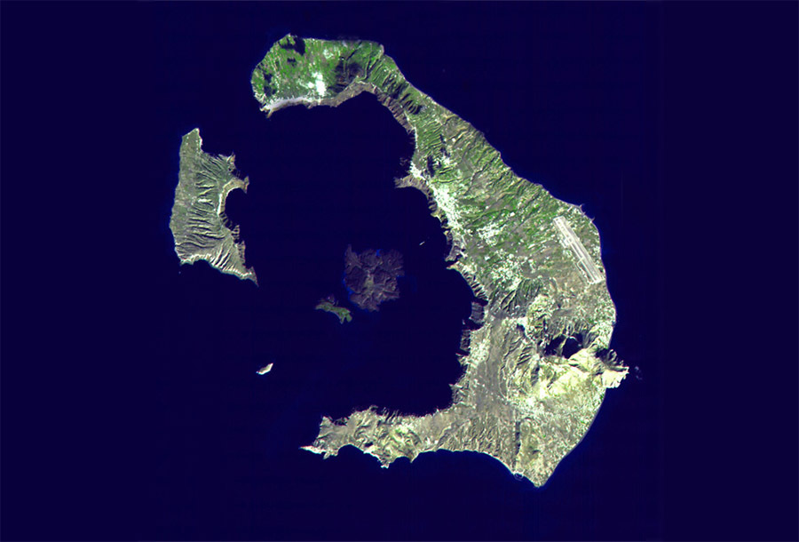 Остров Санторини в Эгейском море, Греция