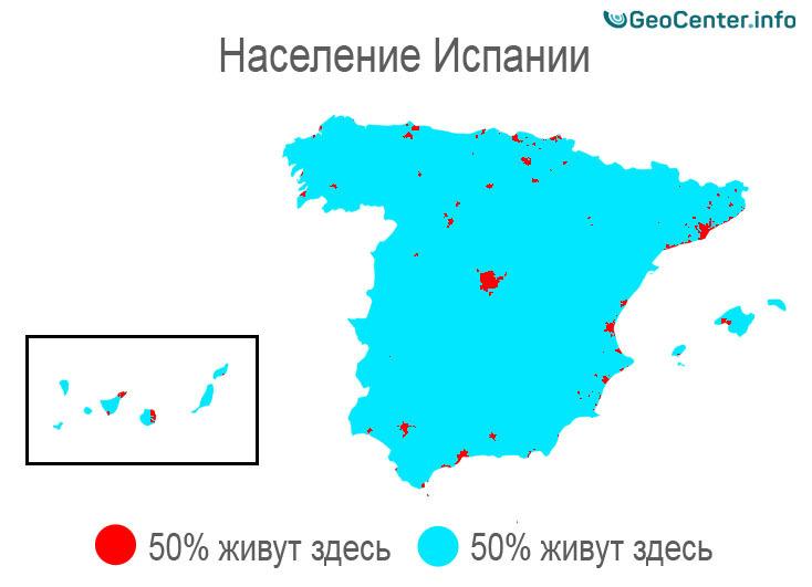 Плотность населения в Испании