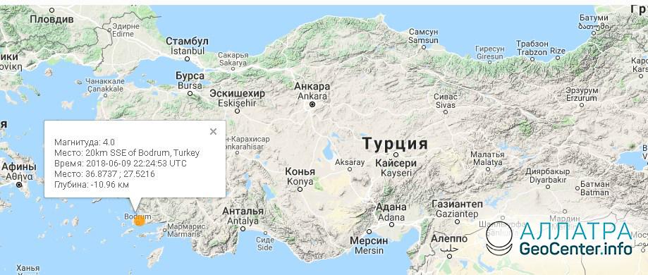 Землетрясение в Турции магнитудой 4, 9 июня 2018 года