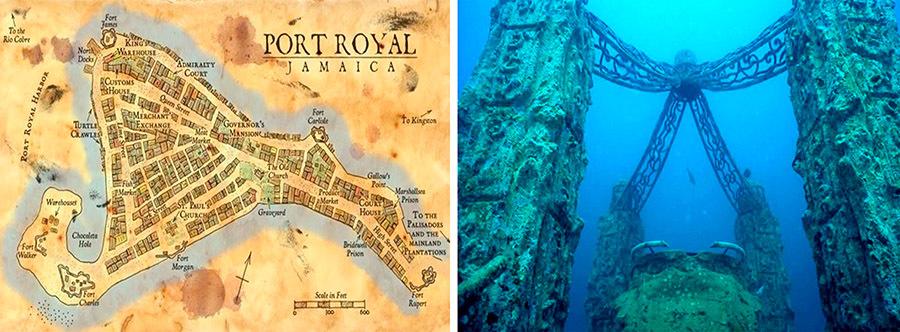 Город Порт-Ройал, юго-восточное побережье Ямайки.     Остатки города на глубине 15 м