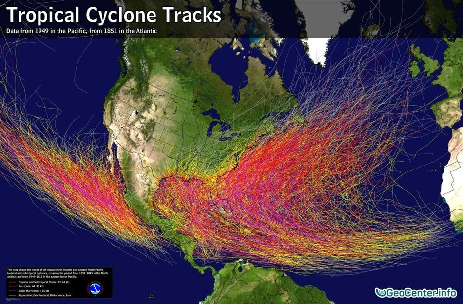 Траектории перемещения эпицентра ураганов