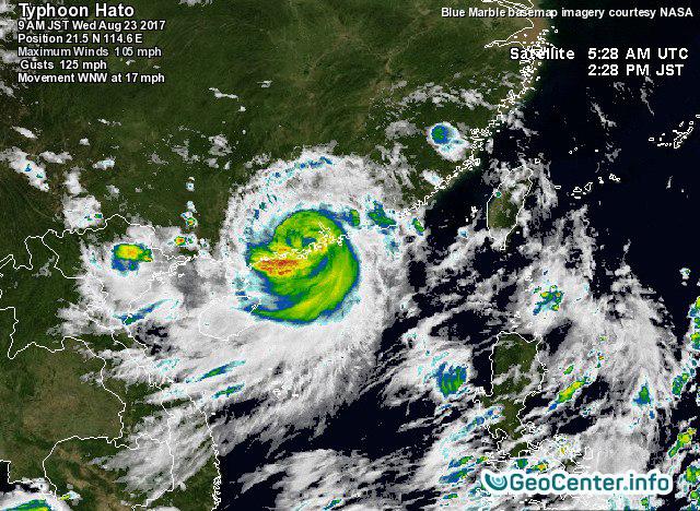 На Китай обушился тайфун Хато, август 2017 года