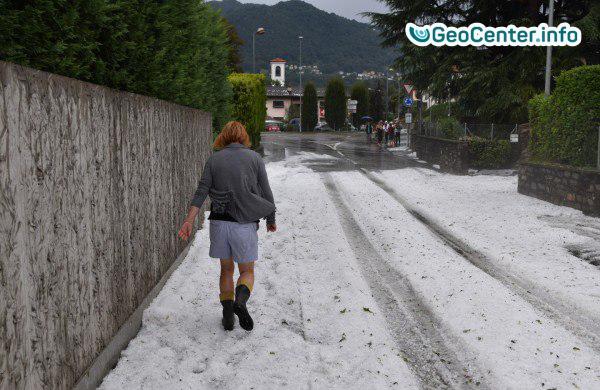 В Швейцарии выпал крупный град, август  2017 года