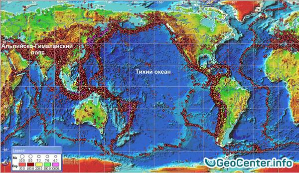 Карта землетрясений и извержений на нашей планете