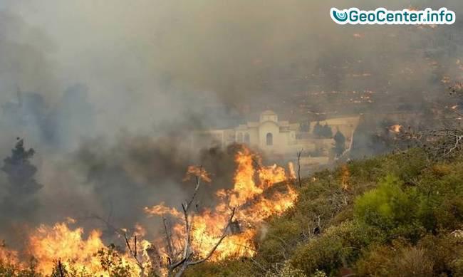 Лесной пожар под Афинами, Греция август 2017 года