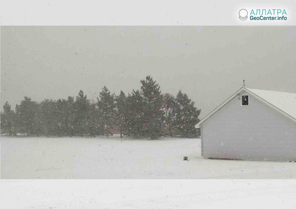 Аномально ранняя зима в Канзасе (США), октябрь 2018 г.