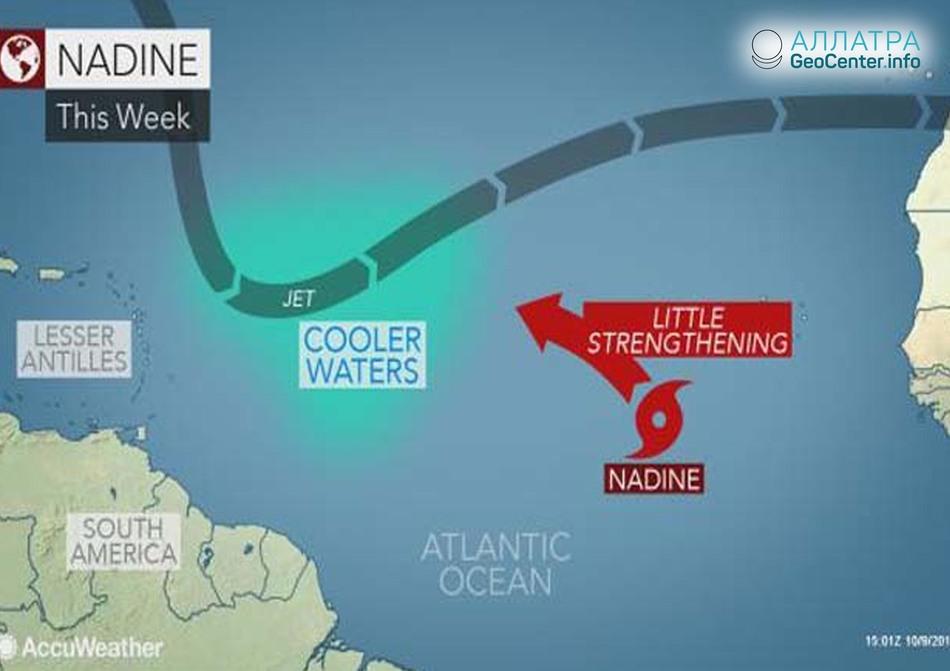 В Атлантике сформировался тропический шторм «Надин».