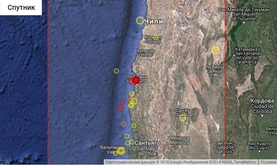 Землетрясение в Чили 28 августа 2018 г.
