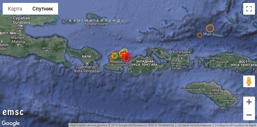 Мощное землетрясение в Индонезии, август 2018 г.