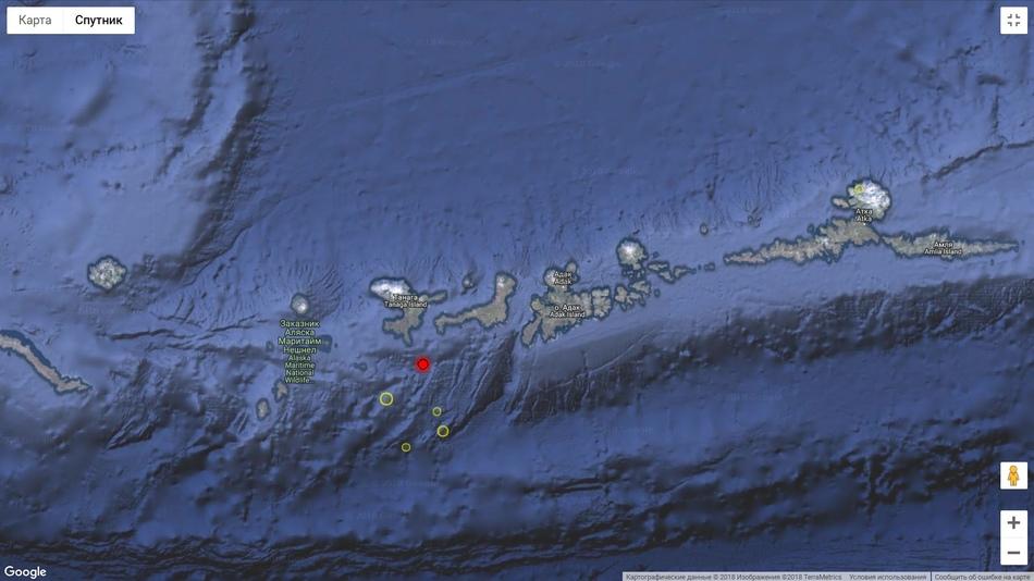 Мощное землетрясение на Аляске, август 2018 г.