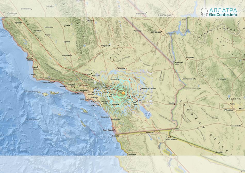 Серия землетрясений на юге Калифорнии, США, 8 мая 2018 года