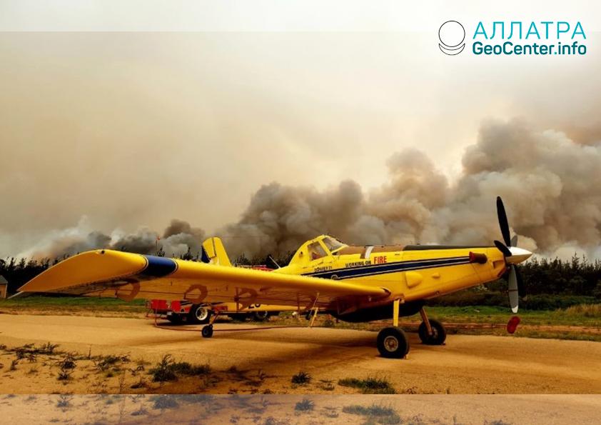 Крупный лесной пожар в ЮАР, октябрь 2018 г.