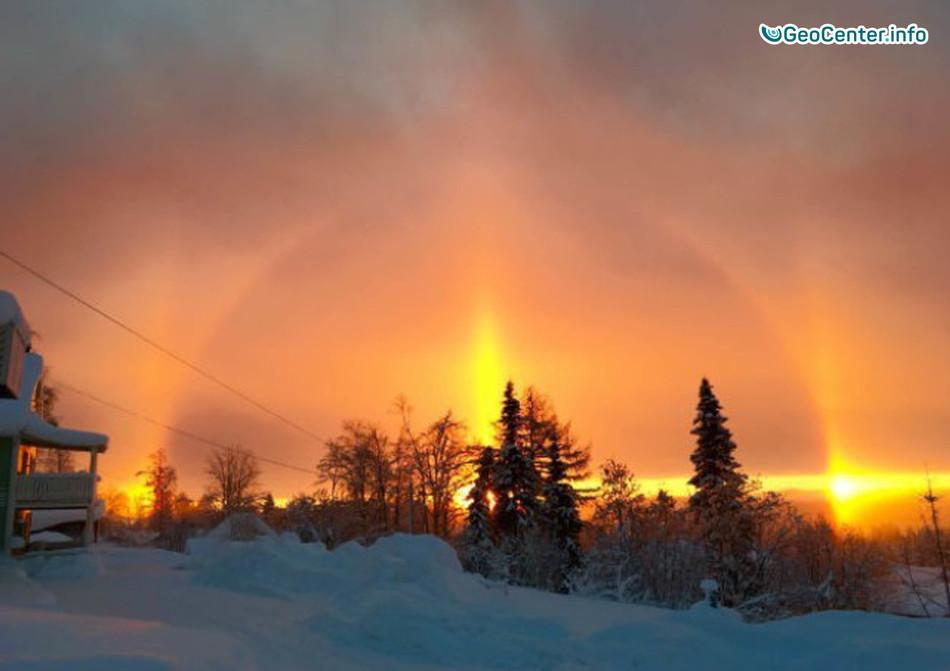 Прекрасное явление природы в небе над Швецией, февраль 2018 г.