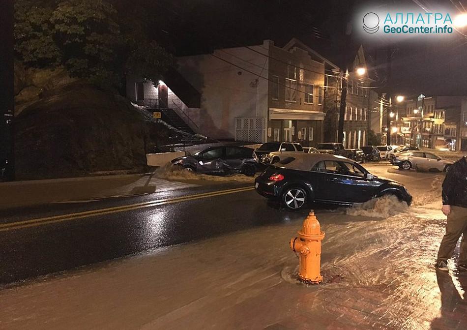 В штате Мэриленд (США) продолжается наводнение, май 2018 г.