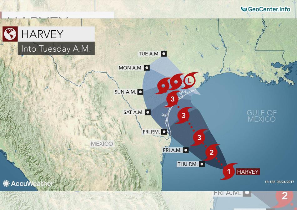 """Циклон """"Харви"""" в Техасе, США, 25 августа 2017 года"""