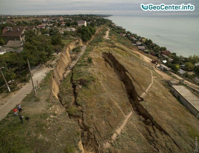 Большой оползень в Одесской области (Украина), август 2017