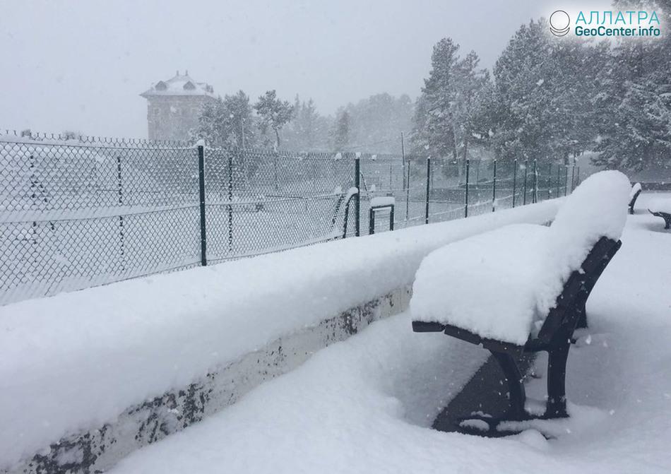 Сильные снегопады во французских Пиренеях, апрель 2018 г.