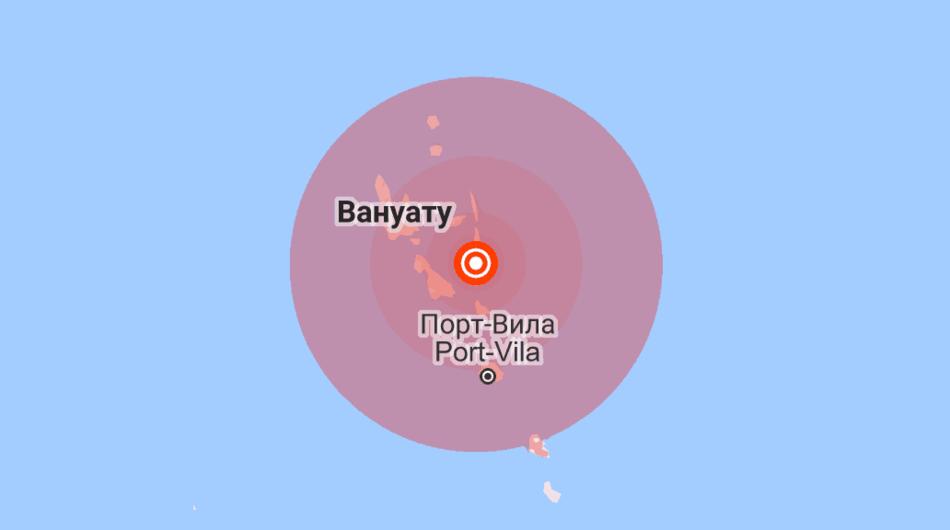 Землетрясение у берегов Вануату 21 августа 2018 года.