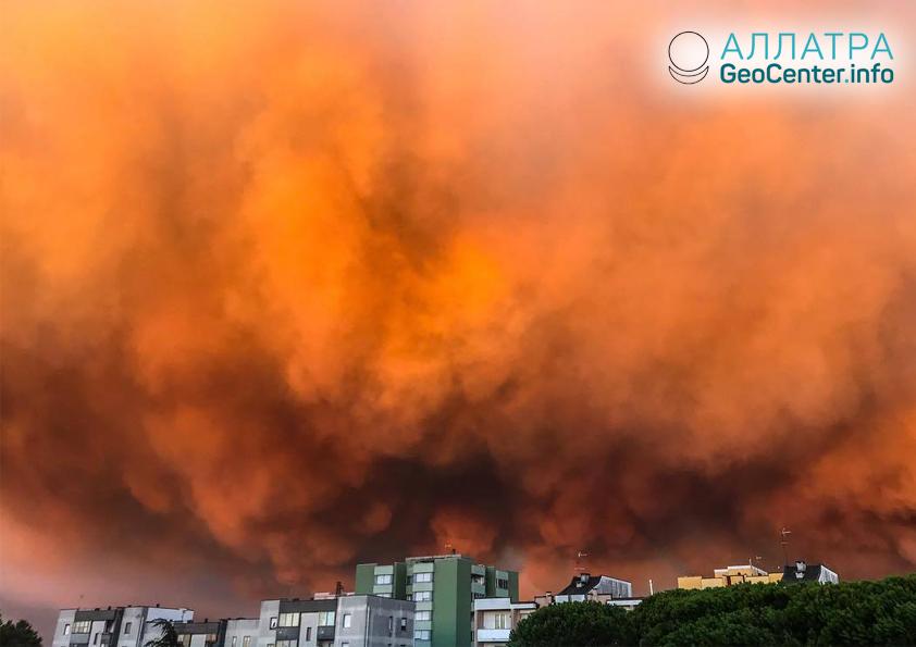 Лесной пожар в Италии, сентябрь 2018