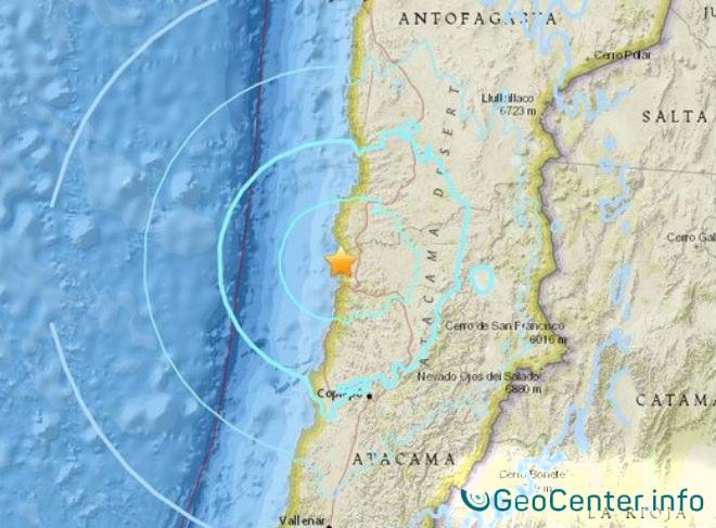Сильное землетрясение в Чили