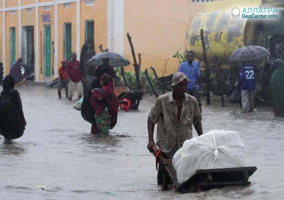 Наводнения в Сомали, Восточная Африка, апрель 2018