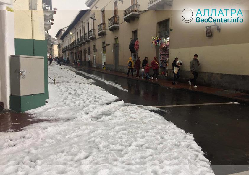 Градовый шторм в Эквадоре, 17 ноября 2018