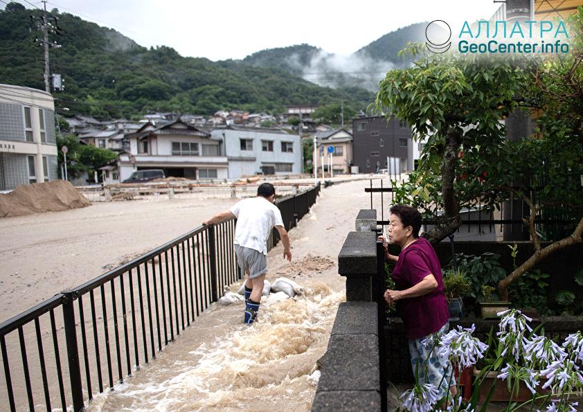 Последствия наводнения в Японии, июль 2018 г.