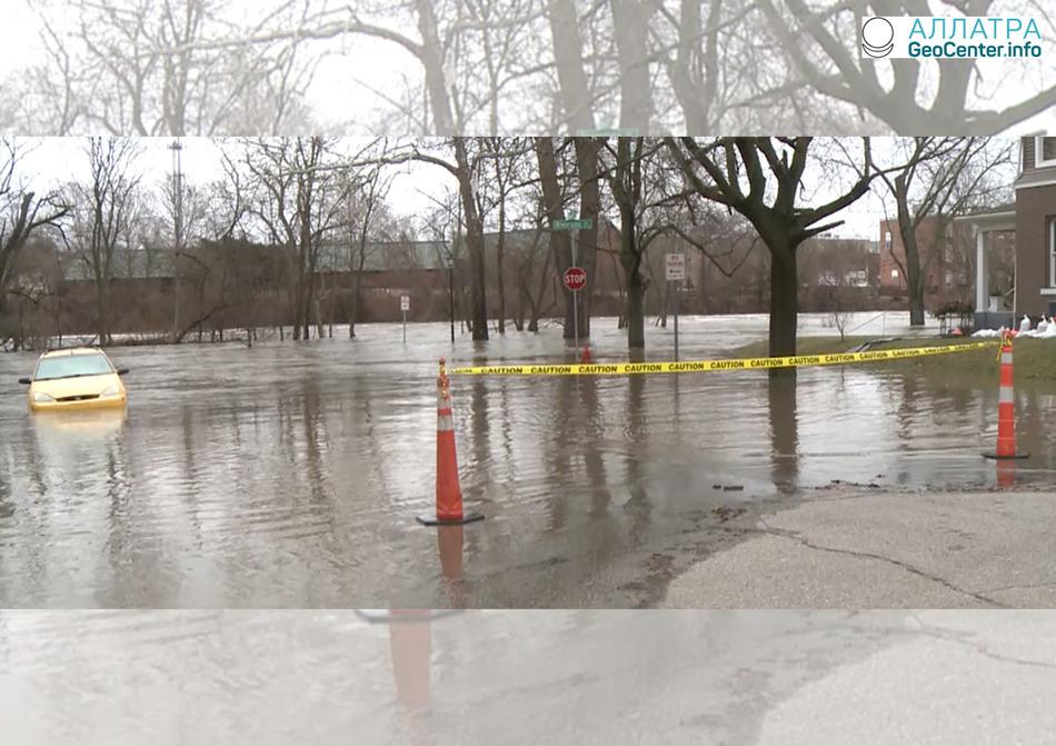 Сильные дожди и наводнение на Среднем Западе, США, февраль 2018 года