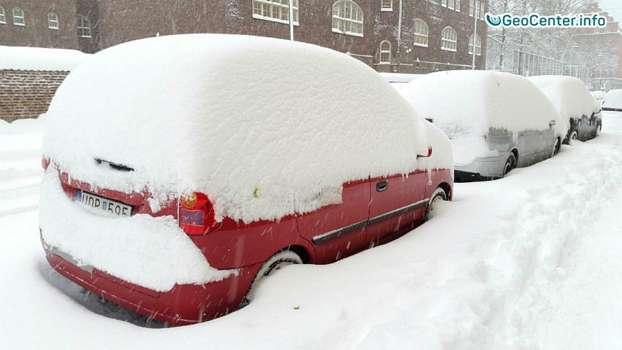 Аномально снежная погода в Швеции