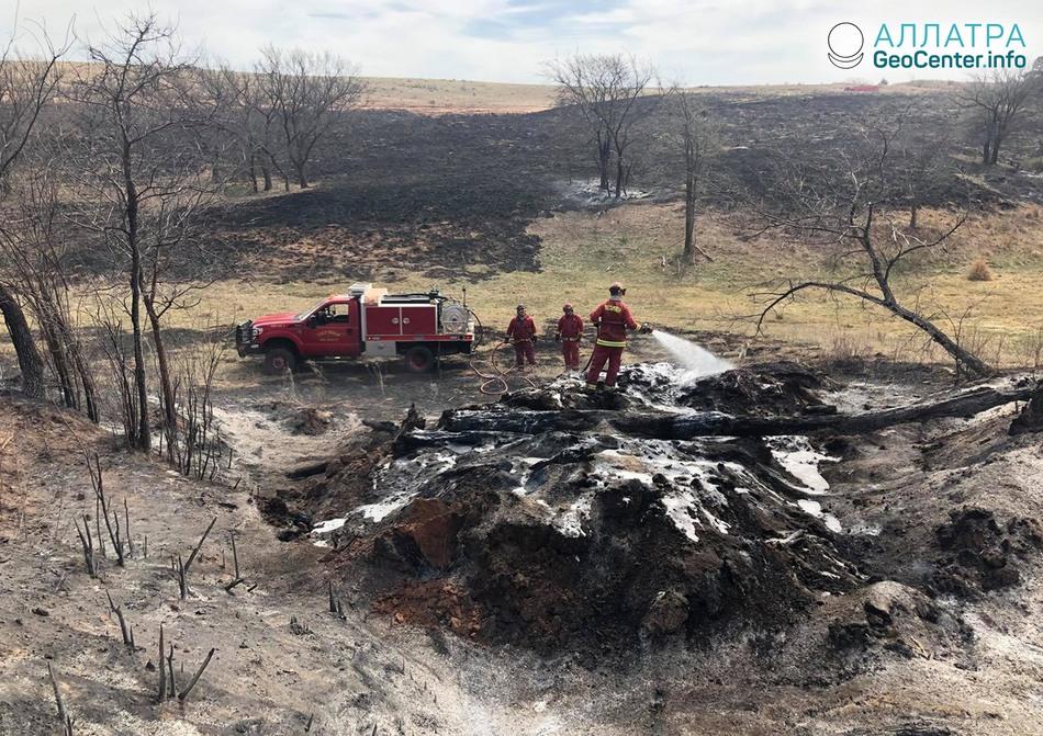 Лесные пожары и огненный смерч в Оклахоме, США, апрель 2018 года