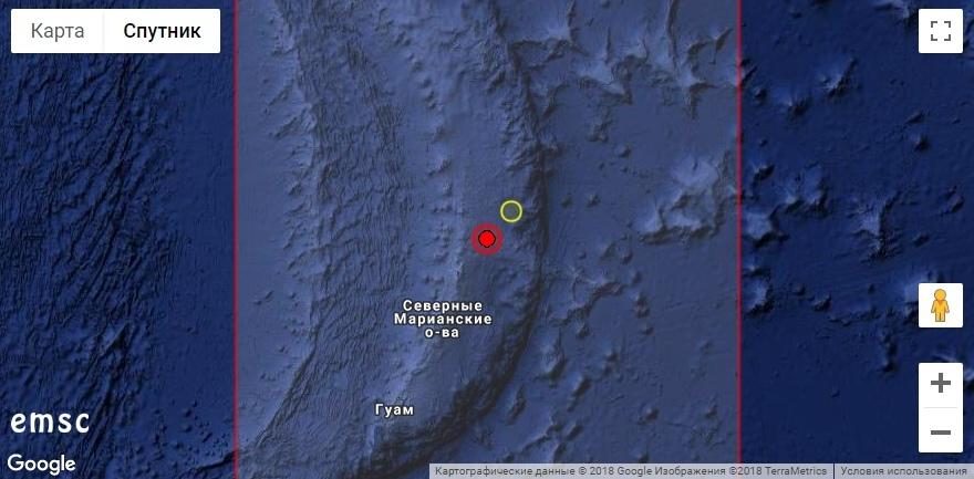 Землетрясение магнитудой 6.4 у Северных Марианских островов, август 2018 г.