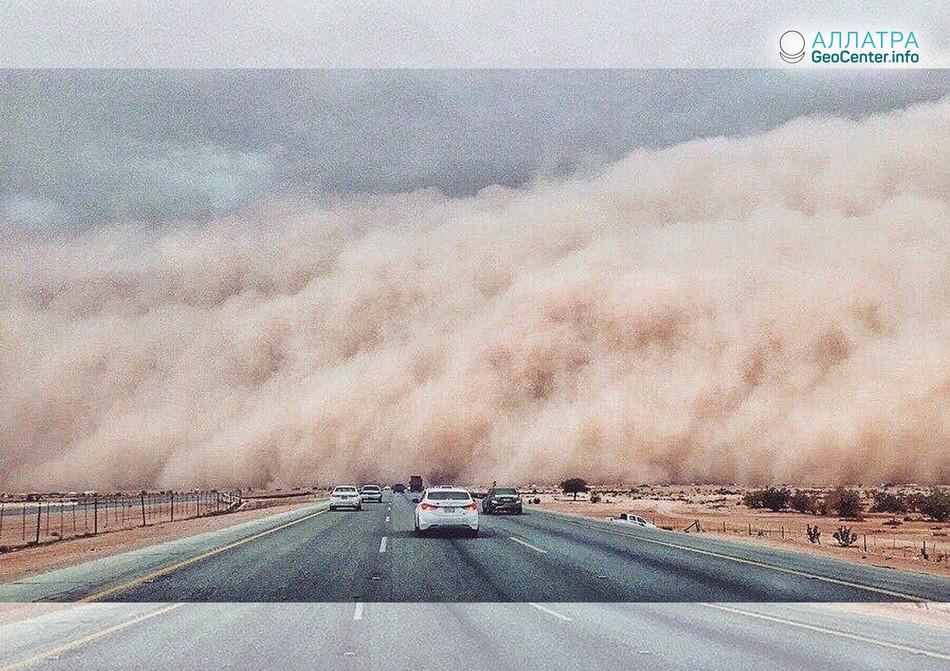 Пыльная буря в Саудовской Аравии, 9 мая 2018 г.