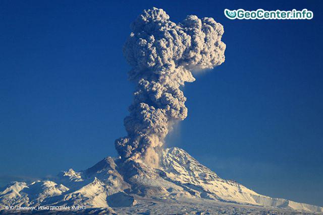 На Камчатке вулкан Шивелуч выбросил столб пепла на высоту 10 км